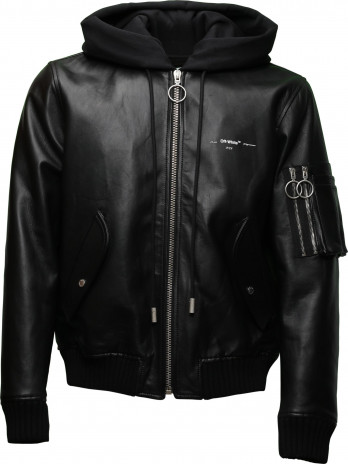 Leather- Bomberjacket with...