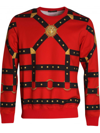 Harness-Print Sweater - Red